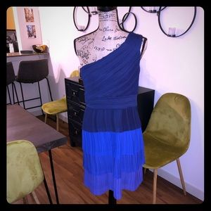Max and Cleo one shoulder ombré party dress.